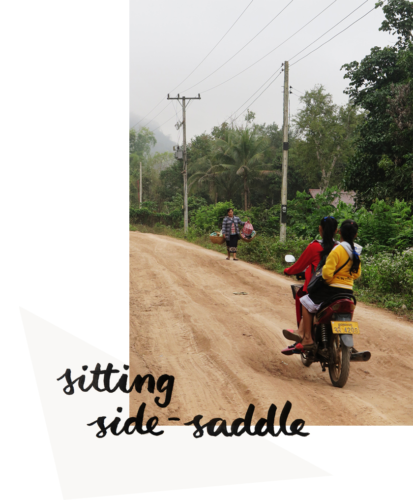 Lao-style: Sitting side-saddle on a motorbike