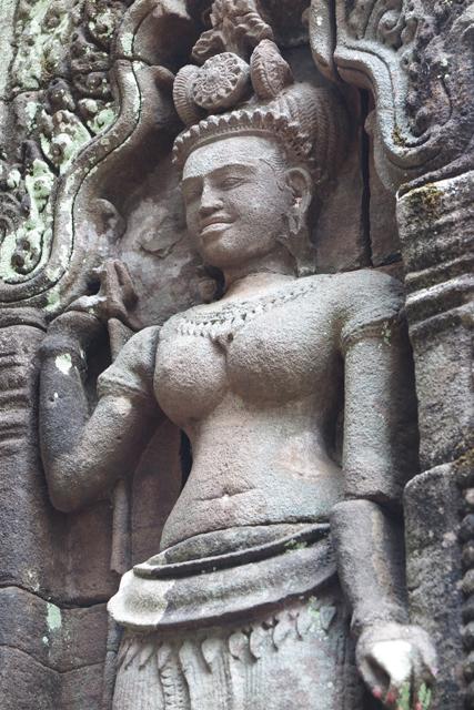 Relieve en el templo de Wat Phu. Champasak, Laos