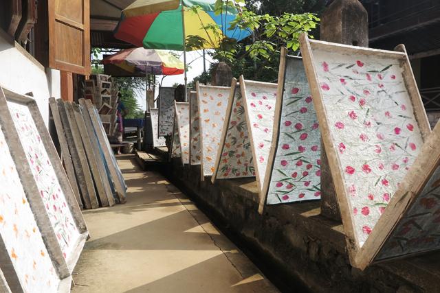 Papel hecho artesanalmente secándose al sol, Luang Prabang, Laos
