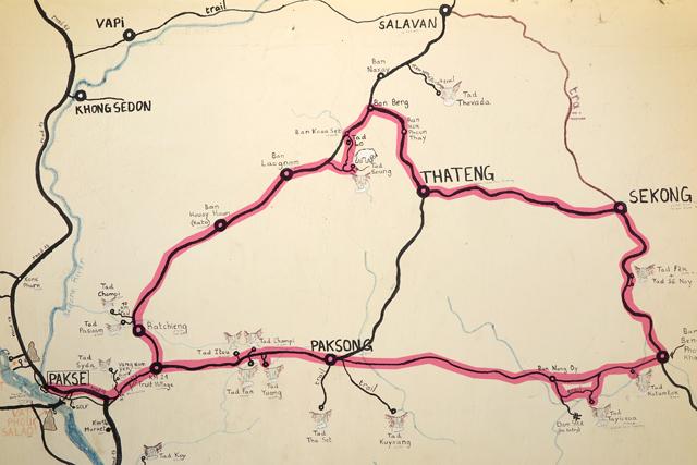 Karte der Region an der Hauswand des Cafés »La Terrasse« in Pakse, Laos.
